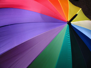 Apolitical multi-coloured umbrella